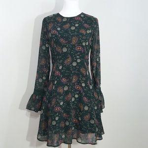 Xhilaration Dark Green Paisley Bell Sleeve Dress